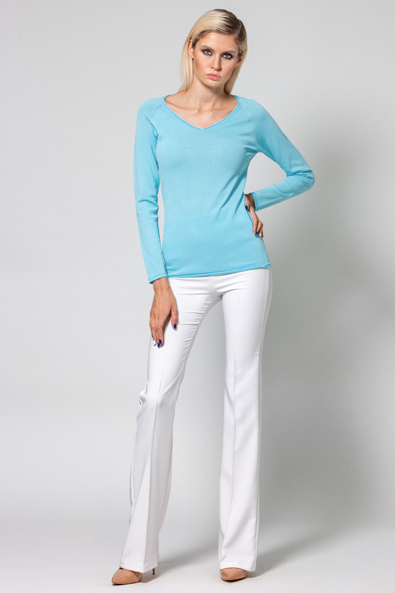 Джемпер женский Conso, цвет: голубой. KWJS180721. Размер 46 (48) пуловер из плотного трикотажа с v образным вырезом