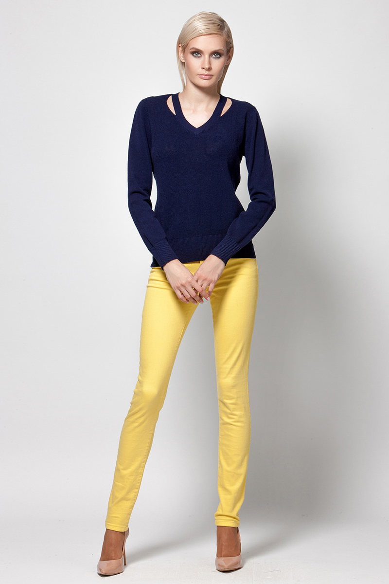 Джемпер женский Conso, цвет: темно-синий. KWJS180731. Размер 48 (50) deloras джемпер с декоративными латками синий