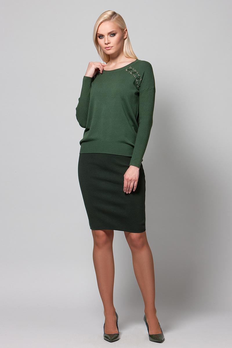 Джемпер женский Conso, цвет: темно-зеленый. KWJS180736. Размер 46 (48) джемпер женский conso цвет желтый kwjs180721 размер 46 48
