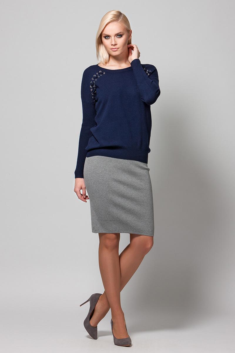 Джемпер женский Conso, цвет: темно-синий. KWJS180736. Размер 46 (48) пуловер conso wear conso wear co050ewbbsv9