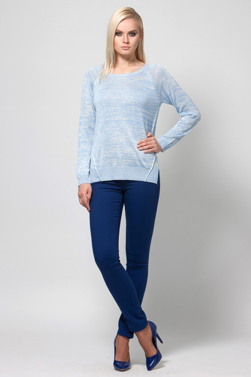 Джемпер женский Conso, цвет: голубой. KWJS180740. Размер 48 (50) пуловер conso wear conso wear co050ewbbsv9