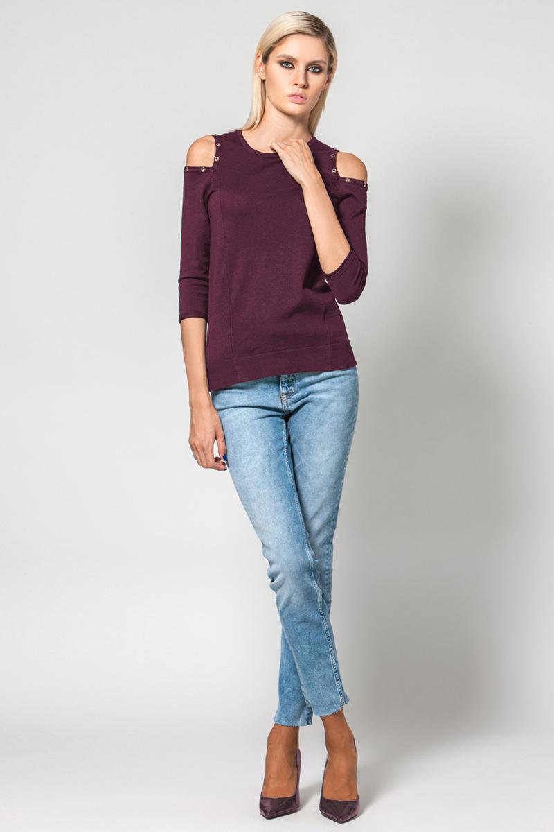 Джемпер женский Conso, цвет: бордовый. KWJS180757. Размер 46 (48) куртка женская conso цвет бордовый ss180119 размер 46 48