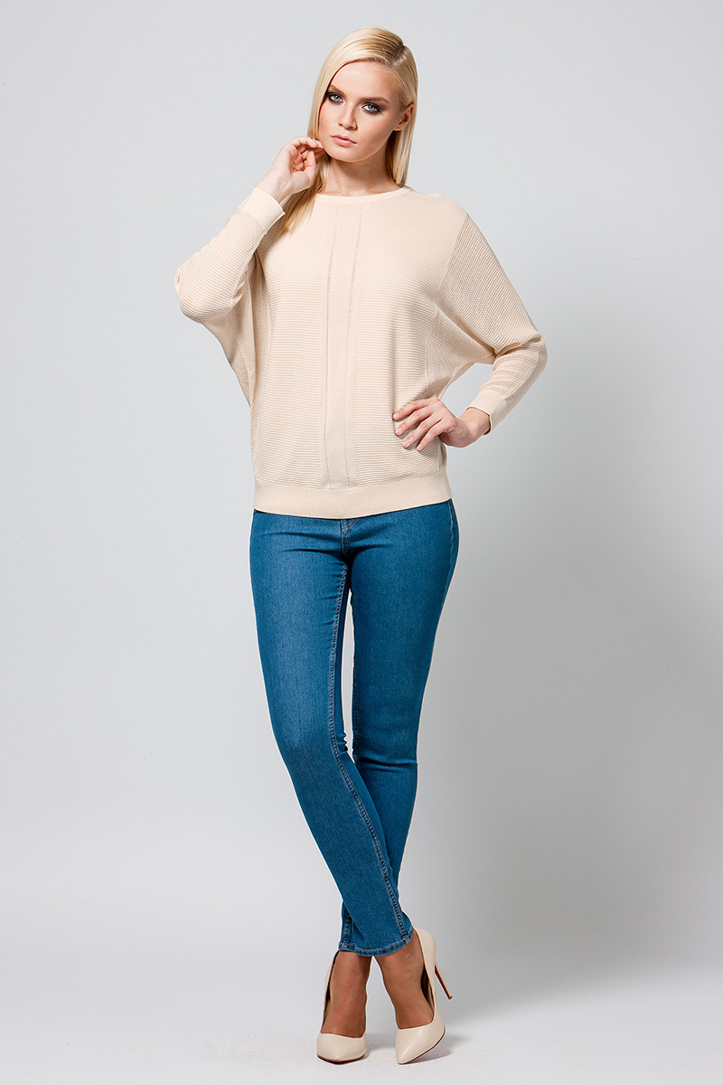 Джемпер женский Conso, цвет: светло-бежевый. KWJS180759. Размер 46 (48) пуловер conso wear conso wear co050ewbbsv9