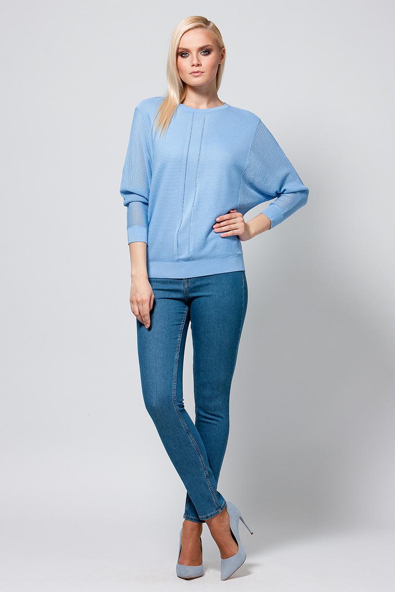 Джемпер женский Conso, цвет: голубой. KWJS180759. Размер 46 (48) skirted mesh sheer print tankini set
