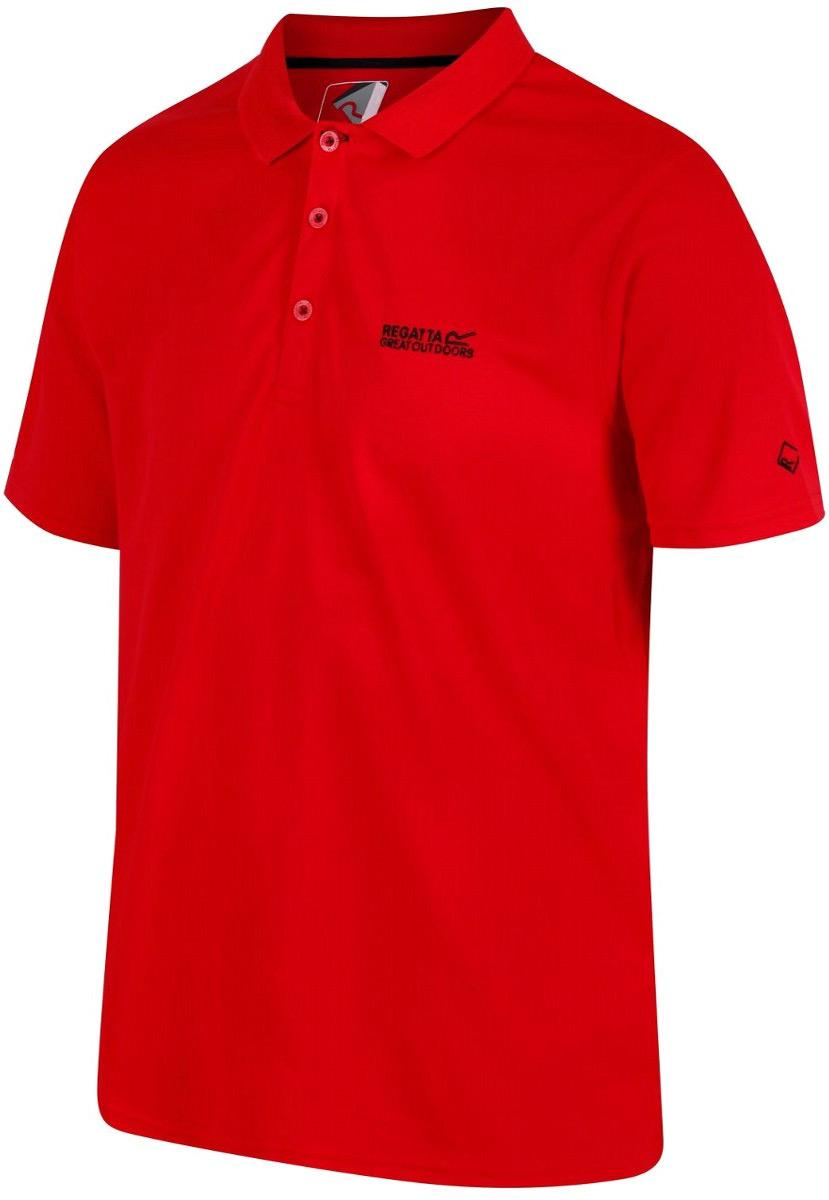 Поло мужское Regatta Maverick IV, цвет: красный. RMT169-9Y6. Размер XL (56)RMT169-9Y6Поло от Regatta выполнено из 100% быстросохнущего полиэстера. Хорошо отводит влагу. Поло с короткими рукавами и отложным воротником на груди застегивается на пуговицы.