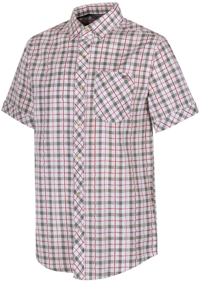Рубашка мужская Regatta Deakin II, цвет: оливковый, белый. RMS108-686. Размер XL (56)RMS108-686Рубашка от Regatta выполнена из материала Coolweave. Легкая хлопчатобумажная ткань Coolweave в клетку. Рубашка с короткими рукавами и отложным воротником застегивается на пуговицы. На груди дополнена накладным карманом. Lifestyle Fit - стильный образ на каждый день.