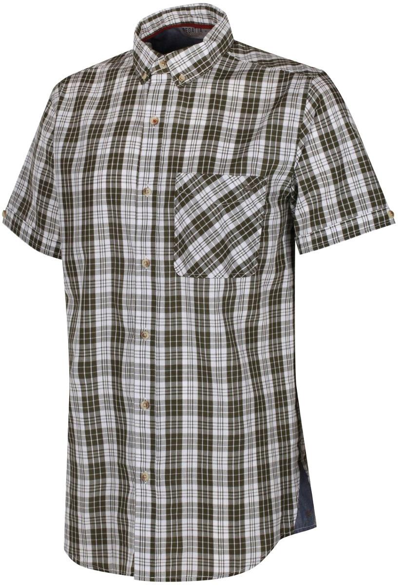 Рубашка мужская Regatta Eathan, цвет: зеленый. RMS105-5XD. Размер XL (56)
