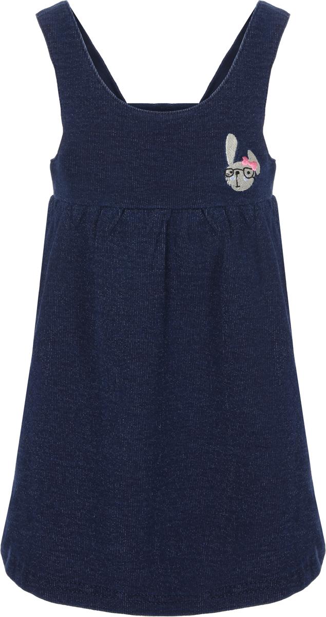 Сарафан для девочки Sela, цвет: темно-синий. Dksl-517/414-8111. Размер 104, 4 года пижама для девочки sela цвет желтый pyb 5662 346 8111 размер 104 110