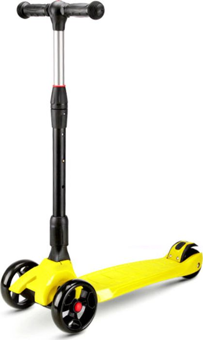 Детский самокат Buggy Boom SKL-L-02, трехколесный, со светодиодами, цвет: желтый021-2Самокат SKL-L-02, это флагман, среди трехколесных самокатов, рассчитанный на ребенка возрастом от 6 до 12 лет. У SKL-L-02 самые широкие (3,5 см) колеса, которые придают ему схожесть с вездеходом-внедорожником, а светодиоды в них отлично дополняют внешний вид делают езду красивой! Легко складывающийся руль, в совокупности с телескопической ручкой, делают самокат легко транспортируемым и компактно хранящимся! Цветовая гамма из 6-ти цветов удовлетворит любого, даже самого взыскательного потребителя, будь то мальчик или девочка! Все, без исключения, и родители и дети оценят этот самокат за его крепость, надежность, простоту и удобство в эксплуатации!
