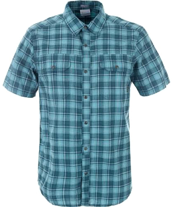 Рубашка мужская Columbia Leadville Ridge YD SS Shirt, цвет: сине-зеленый. 1772125-962. Размер S (44/46) red fox термобелье рубашка 1 2 element merino мужская зеленый