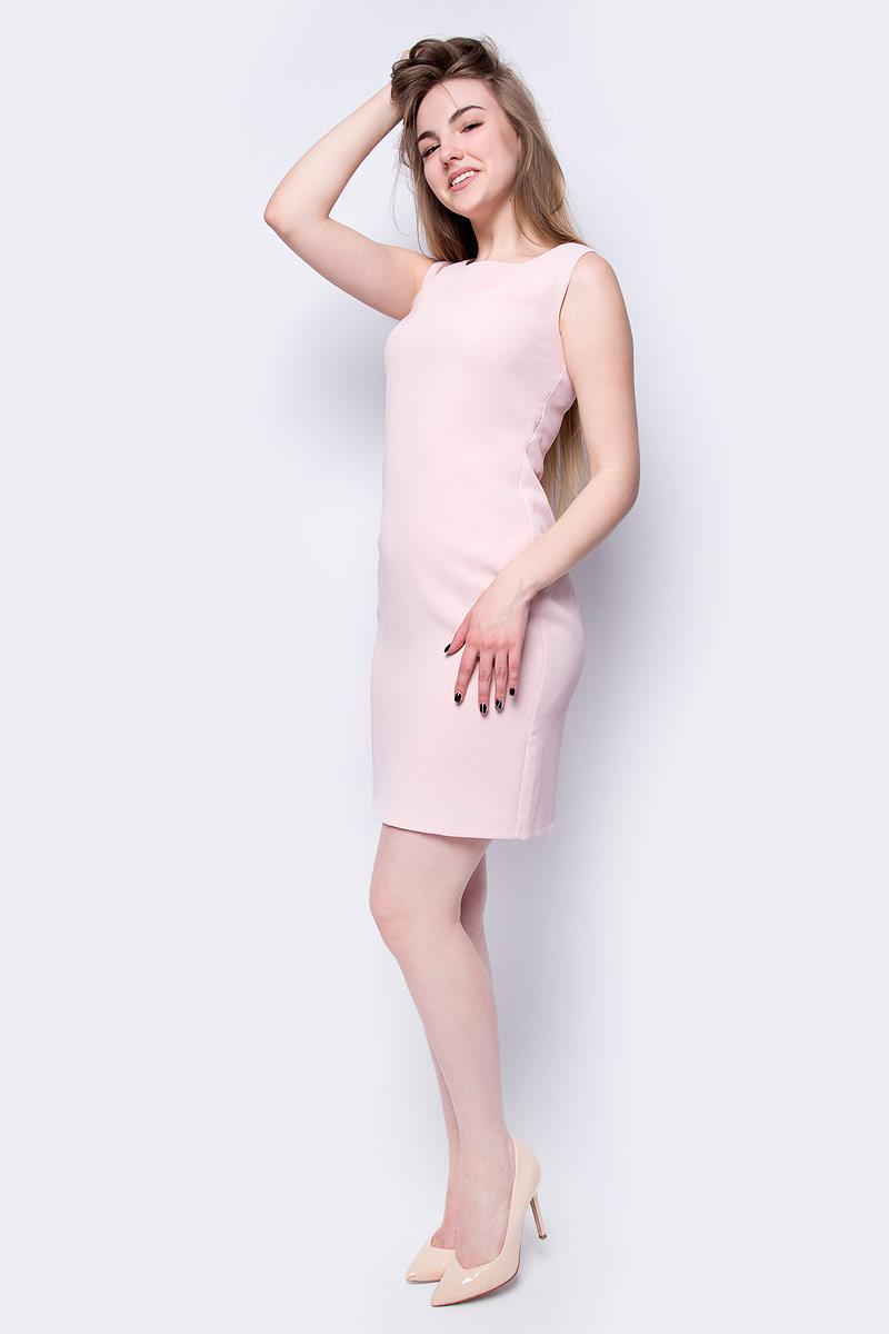 Платье adL, цвет: светло-розовый. 12433488000_026. Размер L (46/48)12433488000_026Платье от adL выполнено из полиэстера. Модель облегающего кроя без рукавов и с круглым вырезом горловины на спине застегивается потайную молнию.