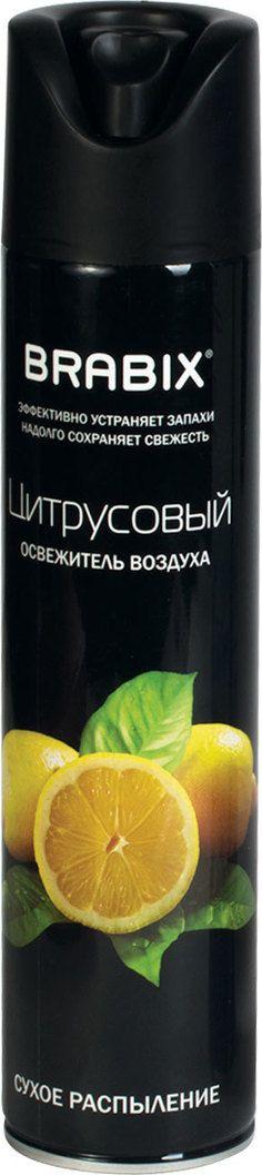 """Освежитель воздуха """"Brabix"""" легко устраняет неприятные запахи, надолго наполняя воздух неповторимым цитрусовым ароматом. Клапан распылителя с очень мягким нажатием удобен в применении."""