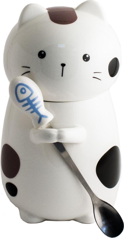Кружка Эврика Кот №3, с ложкой, цвет: белый. 9869698696Кружка кошка с рыбкой До чего же они милые, эти пузатые котики! Так хочется взять в руки и потискать. И хотя настоящий кот может быть против фамильярностей, наши котики никогда не откажут вам в общении и тепле, особенно, если в кружку предварительно налить согревающий напиток. Голова кошки - это крышка, защищающая от остывания. В лапках кот держит рыбку-ложку, необходимую для размешивания. В собранном виде комплект больше напоминает игрушку, и наверняка сделает чаепитие более желанным и забавным.Материал керамика, нержавеющая стальУпаковка: цветной картонРазмеры упаковки: 13х16х10 смРазмеры кружки: 16х14х9 см