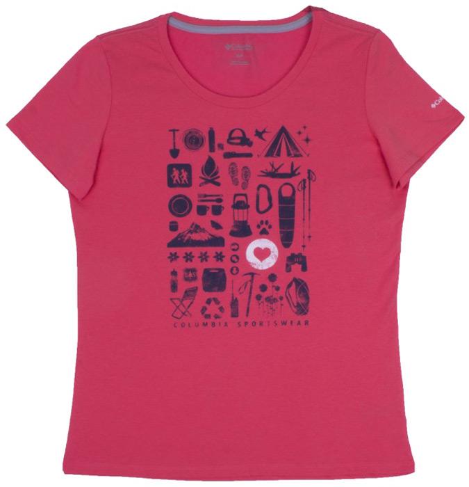 Купить Футболка женская Columbia Camp Stamp Performance Tee, цвет: розовый. 1772231-614. Размер S (44)