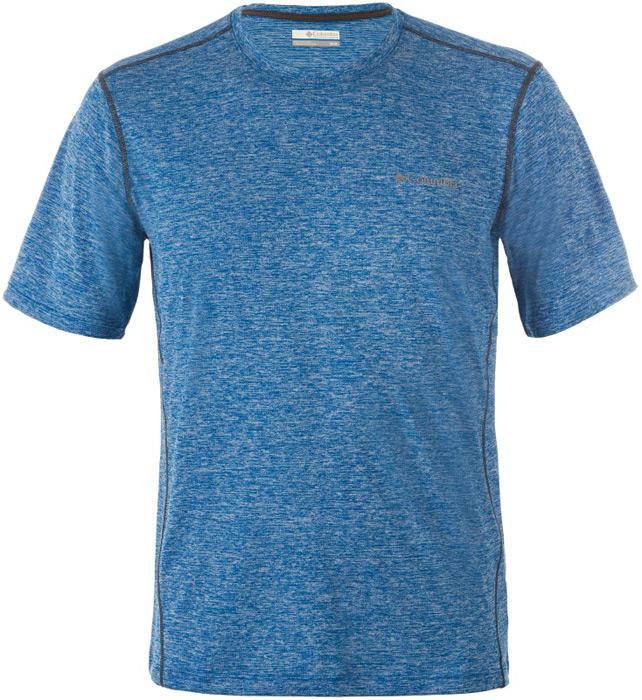 Футболка мужская Columbia Deschutes Runner SS Shirt, цвет: темно-синий. 1711781-469. Размер XXL (56/58) рубашка мужская columbia silver ridge lite ss shirt цвет синий 1654311 469 размер xxl 56 58