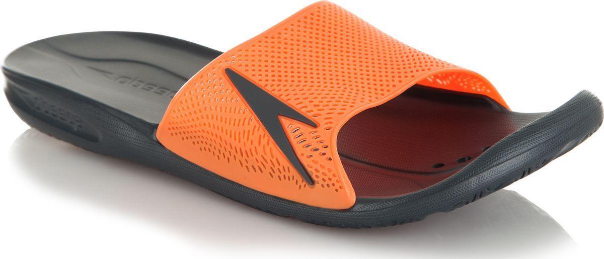 Шлепанцы мужские Speedo Atami II Max, цвет: серый, оранжевый. 8-09060A582-A582. Размер 9 (43/44)8-09060A582-A582Мужские шлепанцы для бассейна от Speedo в яркой цветовой комбинации. Специальная эргономичная посадка, повторяющая контуры и рельеф стопы, обеспечивает непревзойденный комфорт и удобство во время использования. Влагоотвод:перфорированная верхняя часть изделия и дренажные отверстия в подошве обеспечивают быстрое удаление влаги и дополнительную вентиляцию. Сцепление с поверхностью: специальный рисунок подошвы как с внутренней, так и с внешней стороны, гарантирует оптимальное сцепление при ходьбе, как по сухой, так и по влажной поверхности. Комфорт: форма изделия, повторяющая контуры и рельеф стопы, обеспечивает непревзойденный комфорт и удобство во время использования.Легкость: использование легких водоотталкивающих материалов обеспечивают очень легкий вес и комфортность использования. Антибактериальная защита: специальное антибактериальное покрытие Anti-Odour препятствует возникновению неприятного запаха в процессе использования.