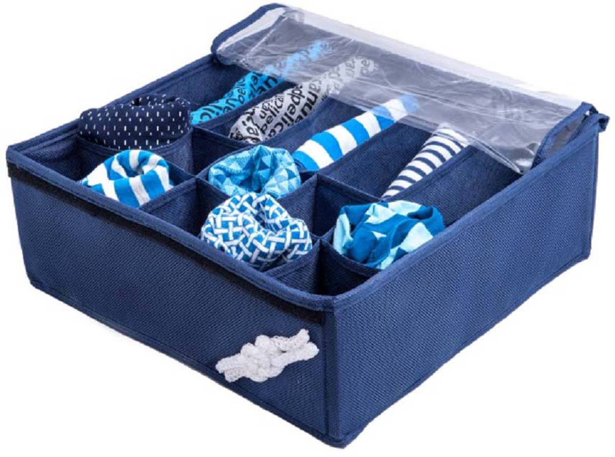 Органайзер универсальный Все на местах Классика, с крышкой, цвет: синий, 32 x 32 x 12 см органайзер универсальный все на местах классика с крышкой цвет синий 32 x 32 x 12 см