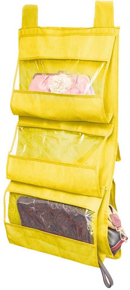 Подвесной органайзер для сумок поможет сохранить сумки от контакта между собой. Существенно экономит место на полках