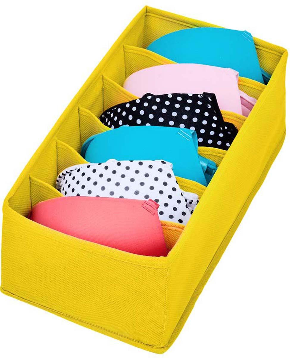 Органайзер Все на местах Minimalistic, цвет: желтый, 6 ячеек, 32 х 16 х 11 см органайзер для белья все на местах insta звезды 32 х 32 х 11 см 12 ячеек
