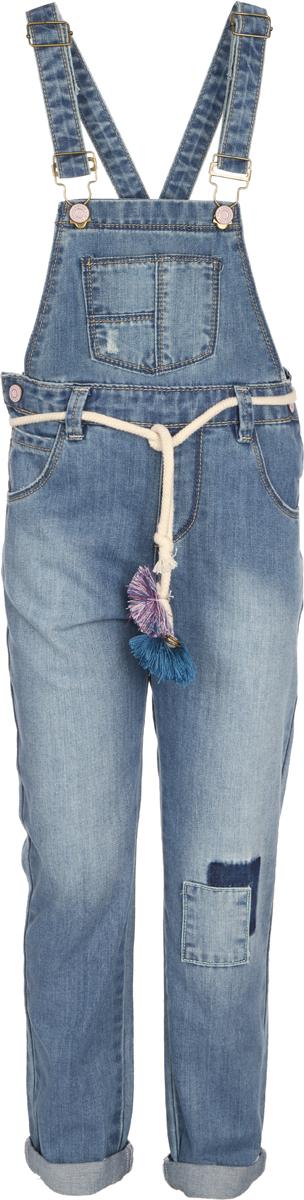 Полукомбинезон для девочки Sela, цвет: голубой джинс. Oj-539/002-8111. Размер 116, 6 лет