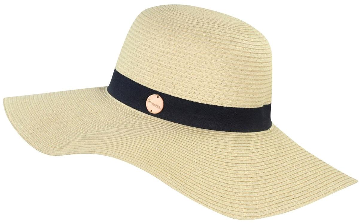 Шляпа_от_Regatta_с_широкими_полями_выполнена_из_бумаги._Декоративная_лента_с_металлическим_значком_с_логотипом.