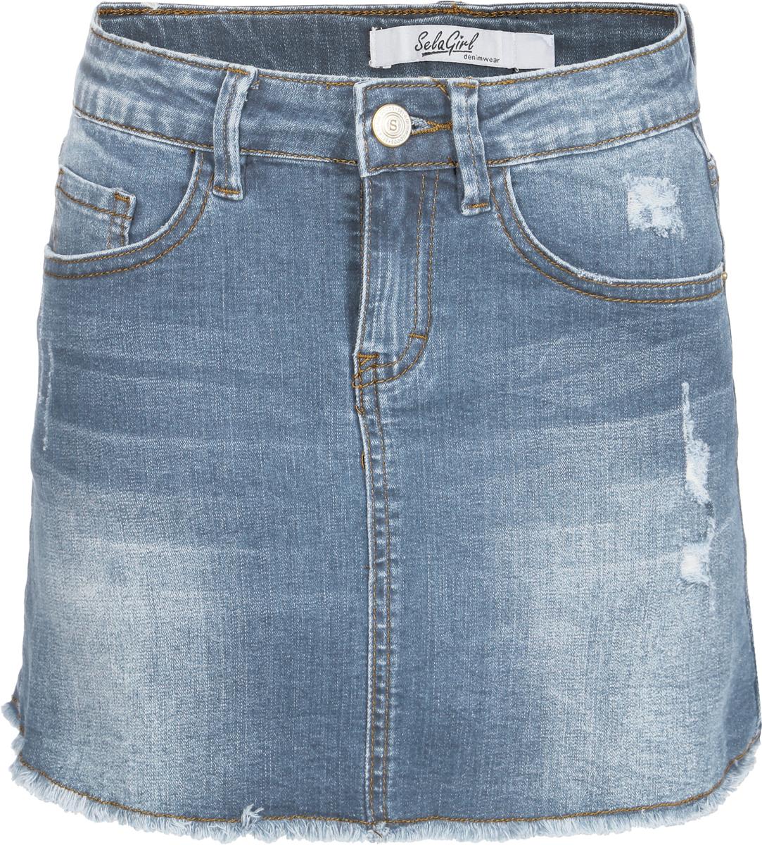 Юбка для девочки Sela, цвет: голубой джинс. SKJ-638/475-8122. Размер 134, 9 лет