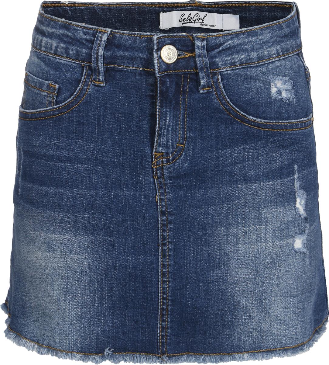 Юбка для девочки Sela, цвет: синий джинс. SKJ-638/475-8122. Размер 146, 11 лет