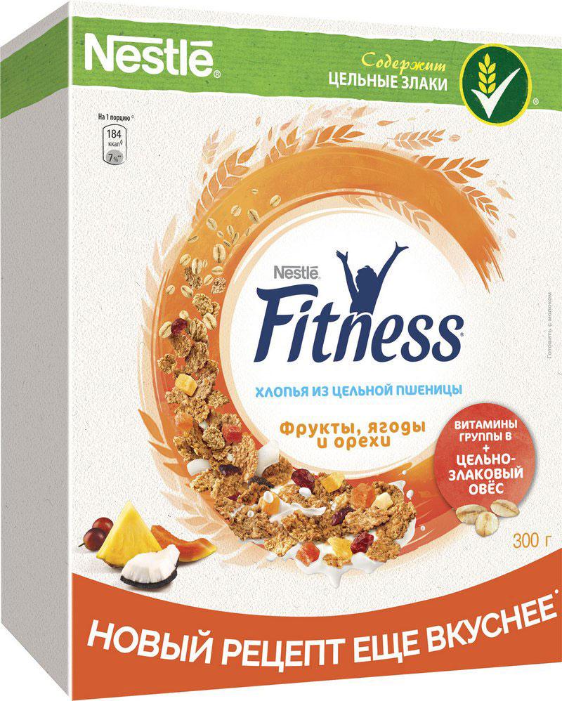 Nestle Fitness Хлопья с фруктами и ягодами готовый завтрак, 300 г fitness