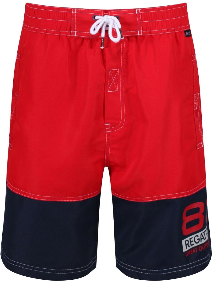Шорты мужские Regatta Brachtmar II, цвет: красный, синий. RMM006-2V6. Размер L (52/54)RMM006-2V6Шорты от Regatta выполнены из 100% полиэстера Taslan. Регулируемая шнурком талия. Два кармана по бокам, один задний карман. Дышащая подкладка из сетки с потайным карманом.