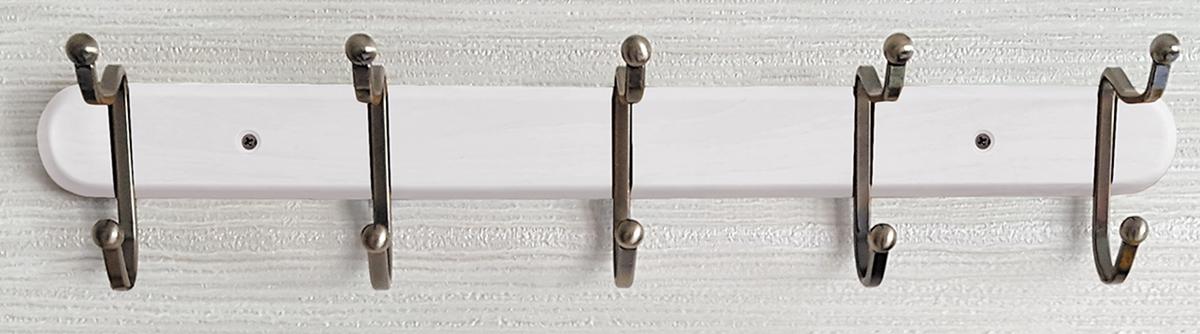 Вешалка настенная Tatkraft Charm, с двойными крючками, цвет: белый, 51 x 9,8 x 10,8 см вешалка для одежды tatkraft karta напольная цвет белый черный высота 173 см