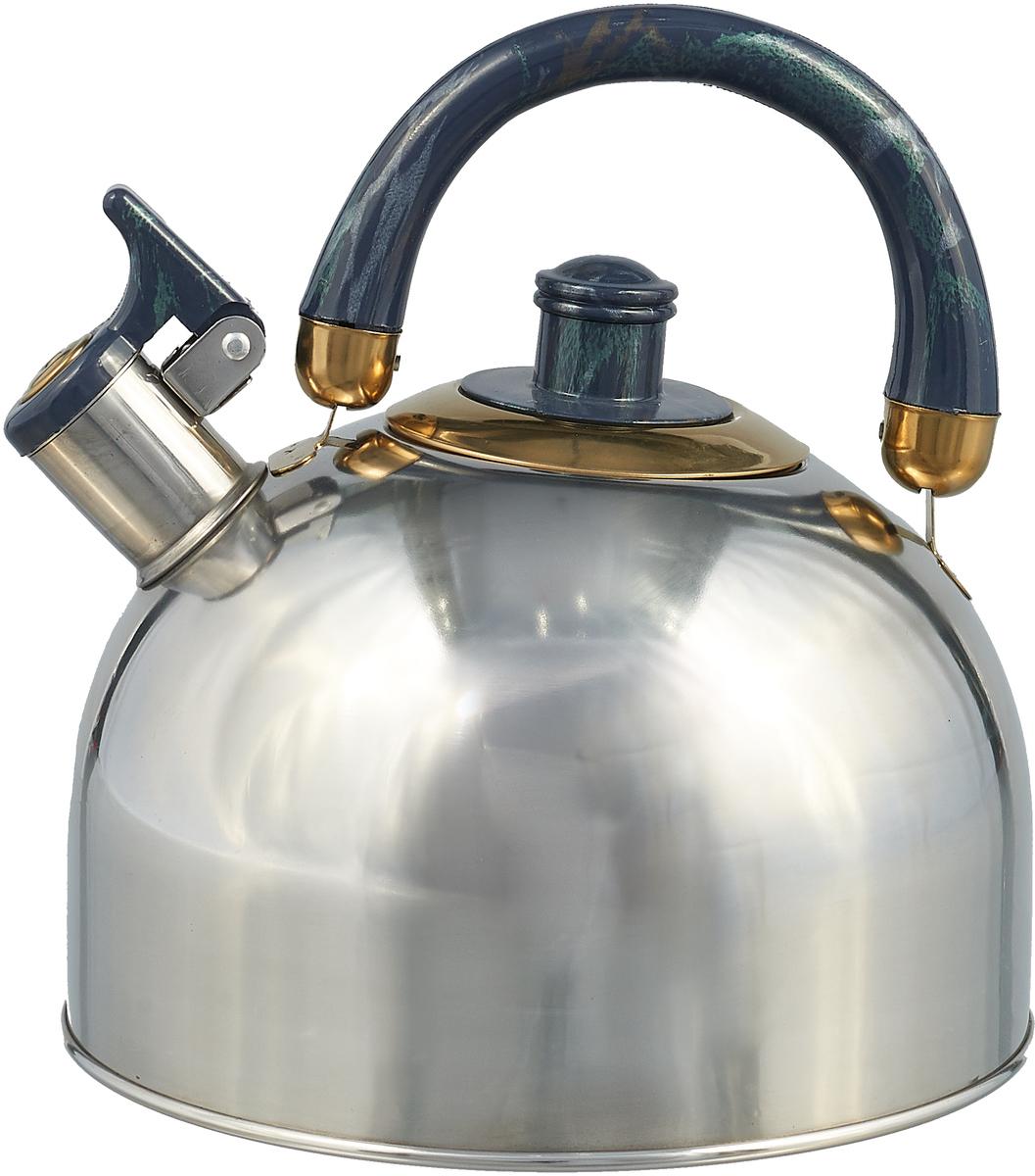 Чайник Rainstahl, со свистком, цвет: темно-синий, 3,5 л7550-35 RS\WK_темно-синийЧайник Rainstahl, со свистком, цвет: темно-синий, 3,5 л