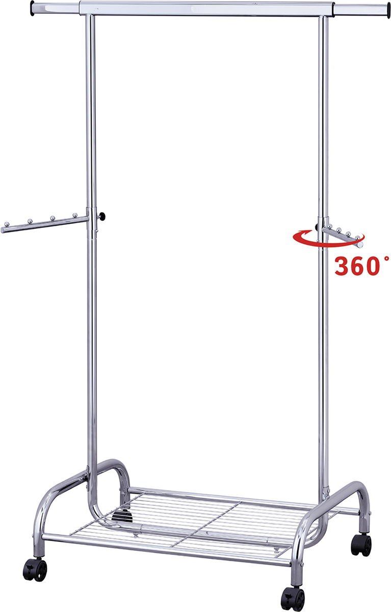 Tatkraft BULL стойка для одежды сверхмощная с полкой. Выдерживает до 80 кг.  Устойчивое основание, 2 выдвижные штанги по 35 см.  Материал: хромированная сталь.  Размеры: L100 х 141 х H150 x D50 см.