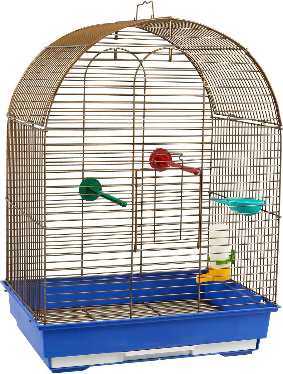 Клетка для птиц Велес Lusy Gold, разборная, цвет: синий, 30 х 42 х 65 см клетка для грызунов велес lusy hamster 2 2 этажная цвет синий бирюзовый 35 х 26 х 26 см