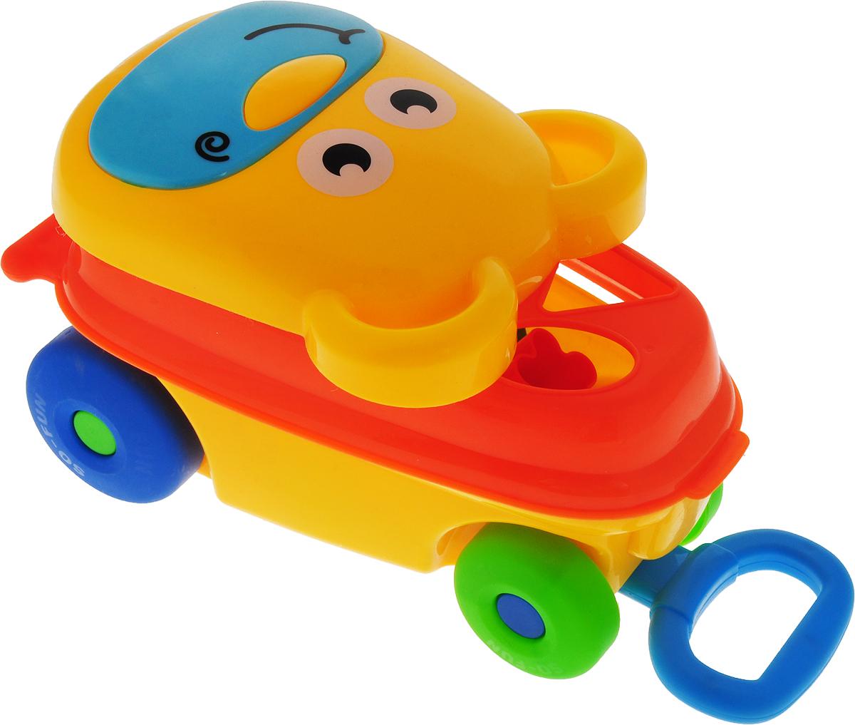 Каталка-сортер Умные игрушки Мишка цвет желтый оранжевый каталки игрушки mertens каталка обезьянка