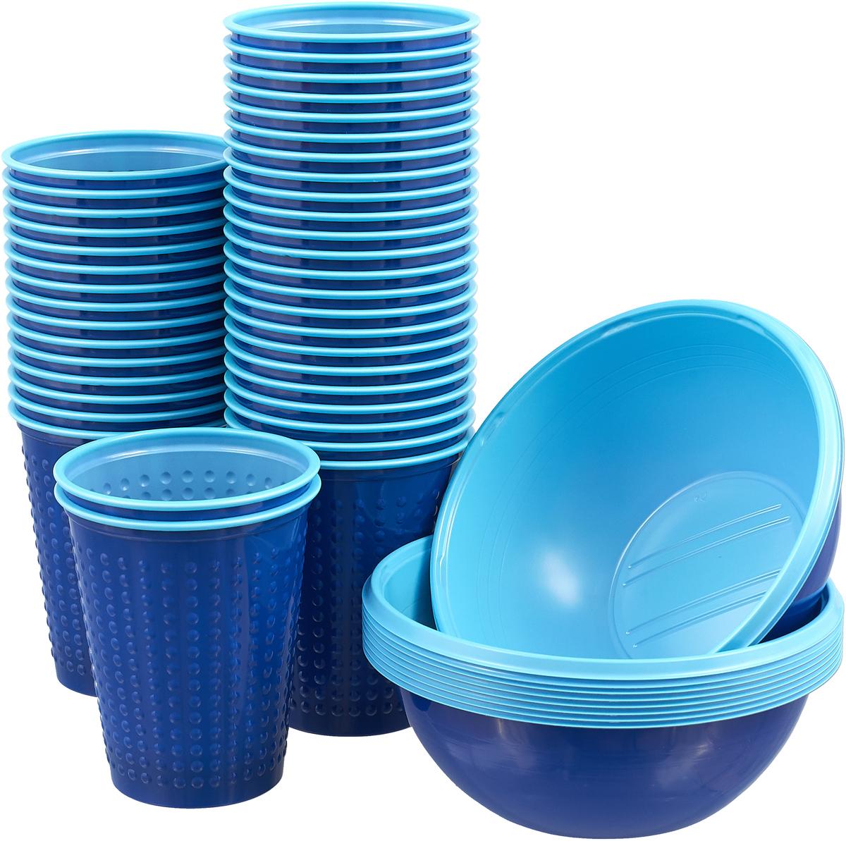 Набор одноразовой посуды Duni, цвет: голубой, 60 предметов