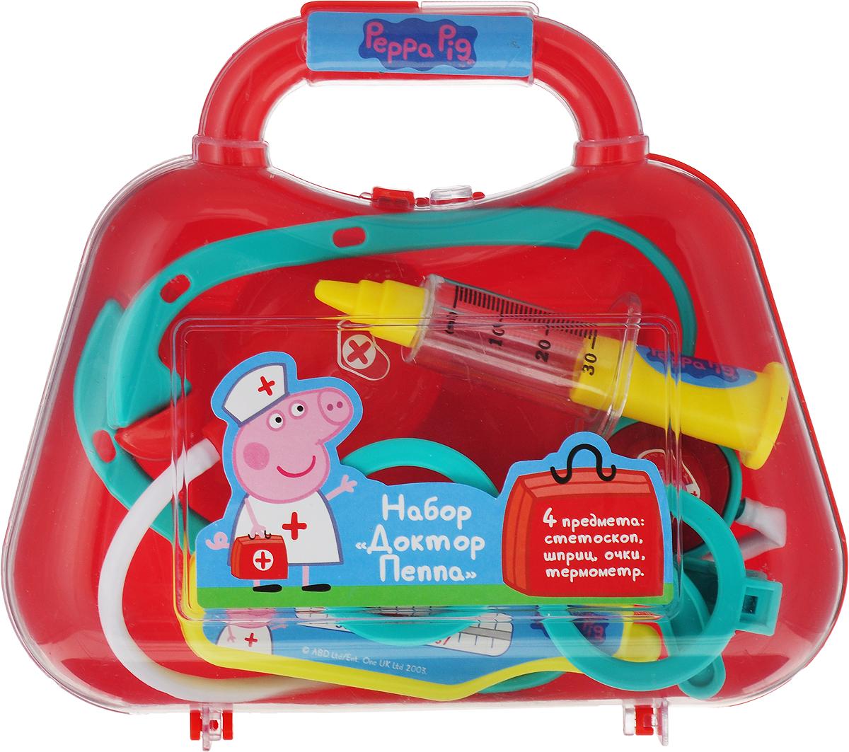 Peppa Pig Игровой набор Доктор Пеппа 4 предмета цвет красный игровой набор peppa pig набор посуды пеппа повар 20 предметов