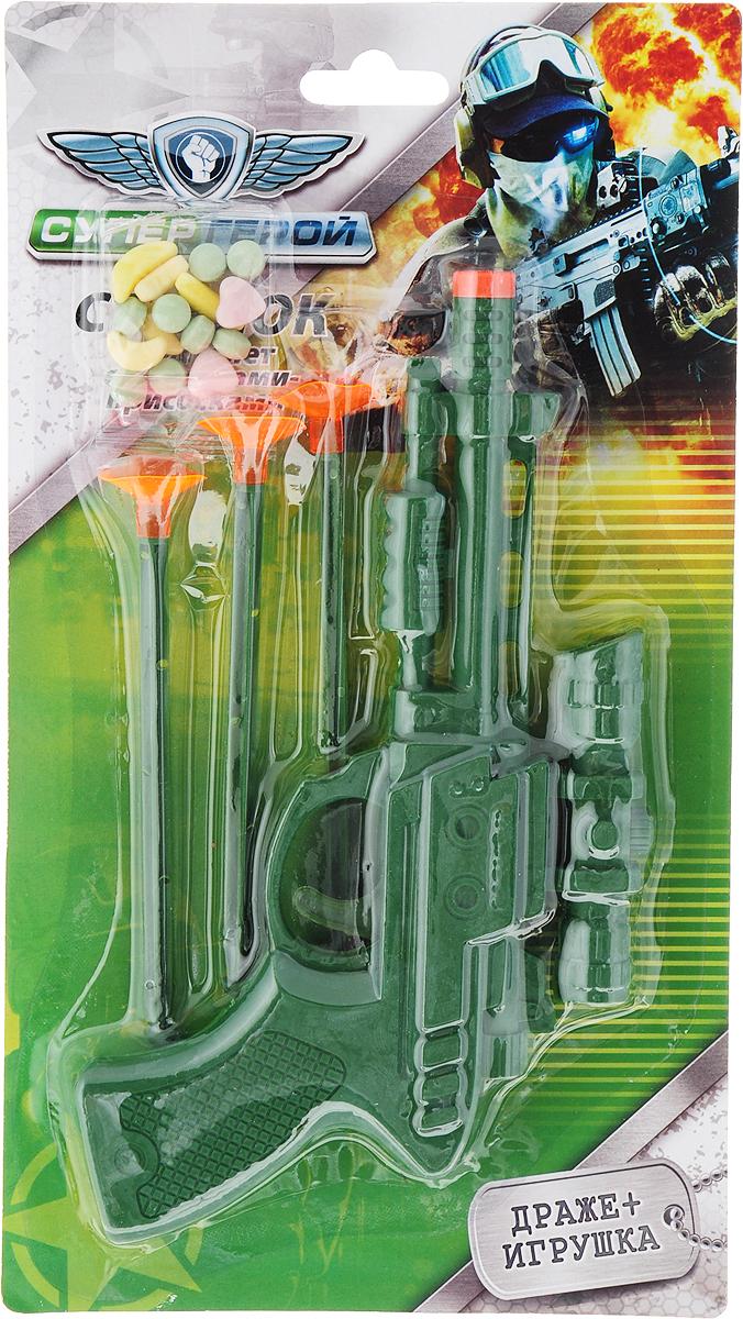 СупергеройПистолет со стрелами фруктовое драже с игрушкой, цвет зеленый, 5 г kinder mix лось подарочный набор с игрушкой 137 5 г