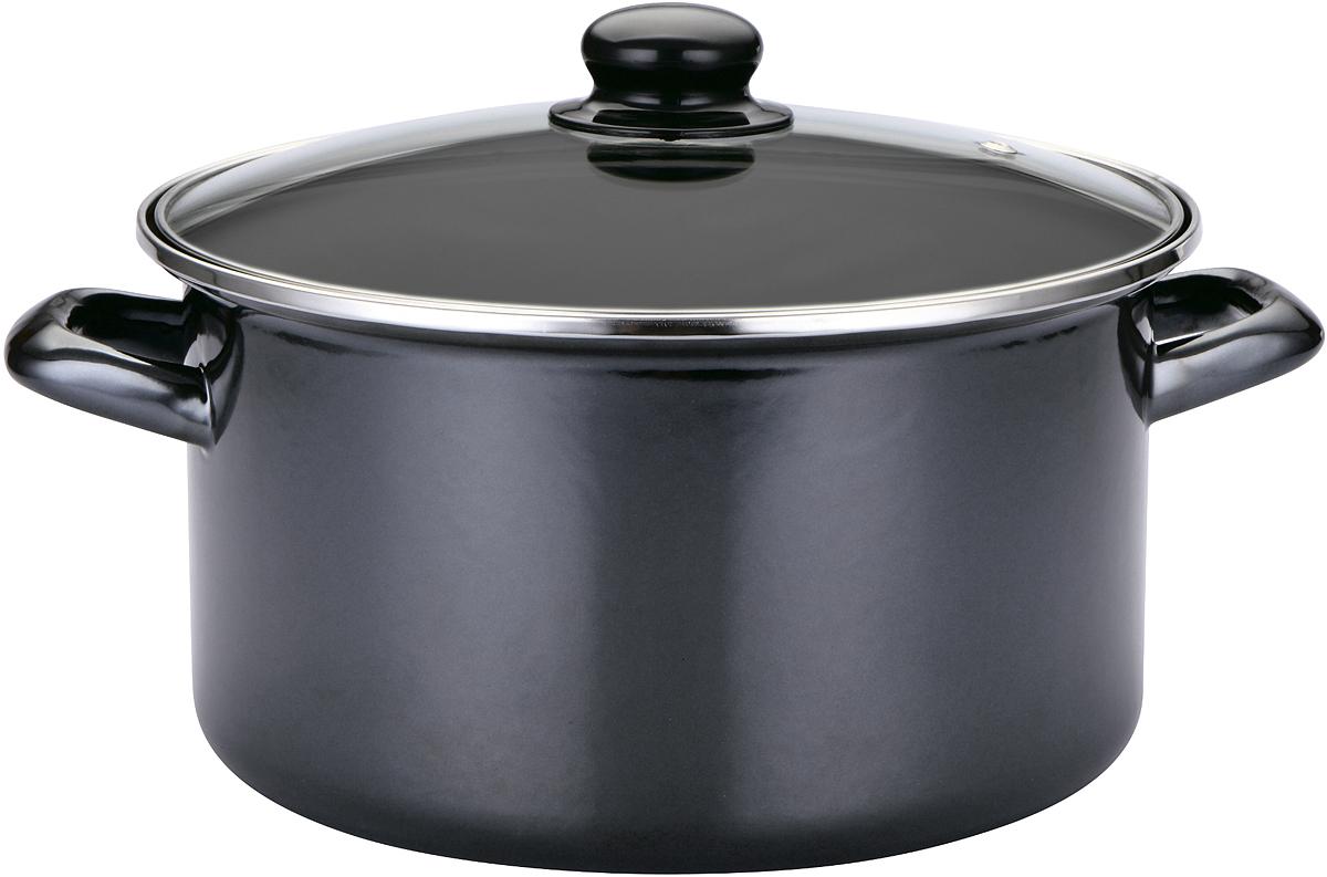 """Эмалированная кастрюля SSW """"Black Tiger"""" выполнена из нержавеющей стали  со стеклокерамическим покрытием - наиболее безопасным видом покрытий  посуды. Стеклокерамика инертна и устойчива к пищевым кислотам, не  вступает во взаимодействие с продуктами и не искажает их вкусовые качества.  Прочный стальной корпус обеспечивает эффективную тепловую обработку и не  деформируется в процессе эксплуатации.   Жаропрочная стеклянная крышка плотно прилегает к краям посуды, сохраняя  аромат и вкус блюд. При этом можно наблюдать за готовностью пищи без  потери  тепла.  Кастрюля подходит для всех типов плит, включая индукционные. Можно  мыть в  посудомоечной машине."""