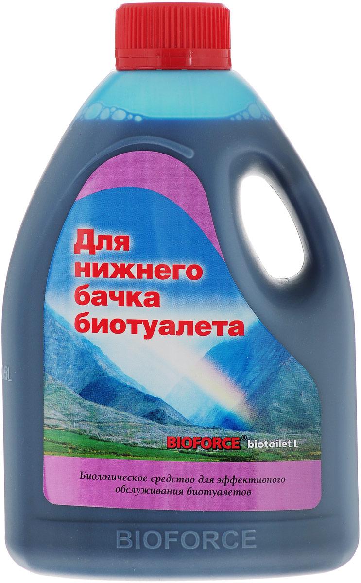 Биологическое средство для эффективного обслуживания портативных биотуалетов Bioforce BioToilet L (1000мл) Биологическое средство  для использования в приемном резервуаре биотуалета. Обеспечивает быстрое разложение отходов. Предотвращает развитие болезнетворных  бактерий. Ликвидирует неприятные запахи. Не содержит формальдегидов и четвертичных аммонийных соединений. В отличие от химических  средств, не разрушает пластиковые поверхности биотуалетов. Безвредно для окружающей среды – отходы обработанные биопрепаратом можно  опорожнять в компостную кучу.  ПРИМЕНЕНИЕ:  При заправке биотуалета внесите средство в нижний бачок из расчета: на 10-литровый  бак - 50мл средства, на 20-литровый - 100мл. Добавьте в бак ?л или 1л воды (соответственно).   Внимание! Использовать совместно  только с биологическим средствами для верхнего бачка биотуалетов (например, Bioforce BioToilet W).  Состав: комплекс природных  микроорганизмов, ферментов, ПАВ, краситель, ароматизатор.  Уважаемые клиенты! Обращаем ваше внимание на то, что упаковка может иметь несколько видов дизайна. Поставка осуществляется в зависимости от наличия на складе.