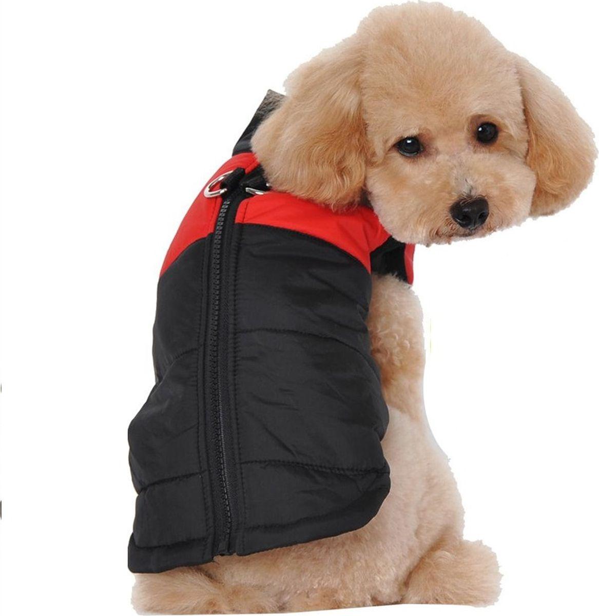 Жилет для собак  Fidget Go , цвет: черный, красный, водонепроницаемый, унисекс. Размер L - Одежда, обувь, украшения - Одежда