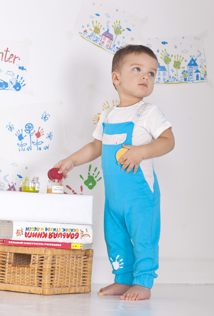 Комплект одежды для мальчика Мамуляндия: полукомбинезон, футболка, цвет: разноцветный. 18-1011-2. Размер 98 комплекты детской одежды мамуляндия комплект для мальчика полукомбинезон и футболка клякса