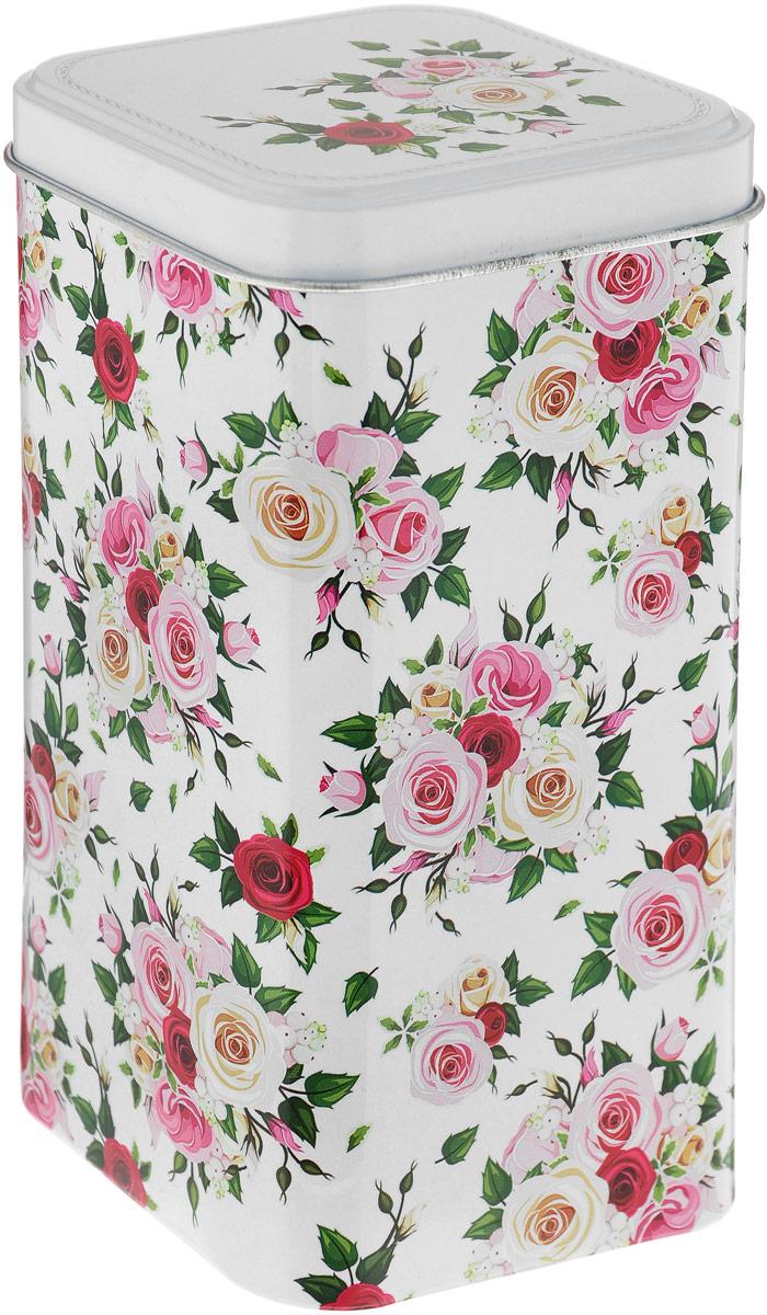 Банка для сыпучих продуктов Рязанская фабрика жестяной упаковки Флора, цвет: белый, 1,4 л3769_белый, кустовая роза