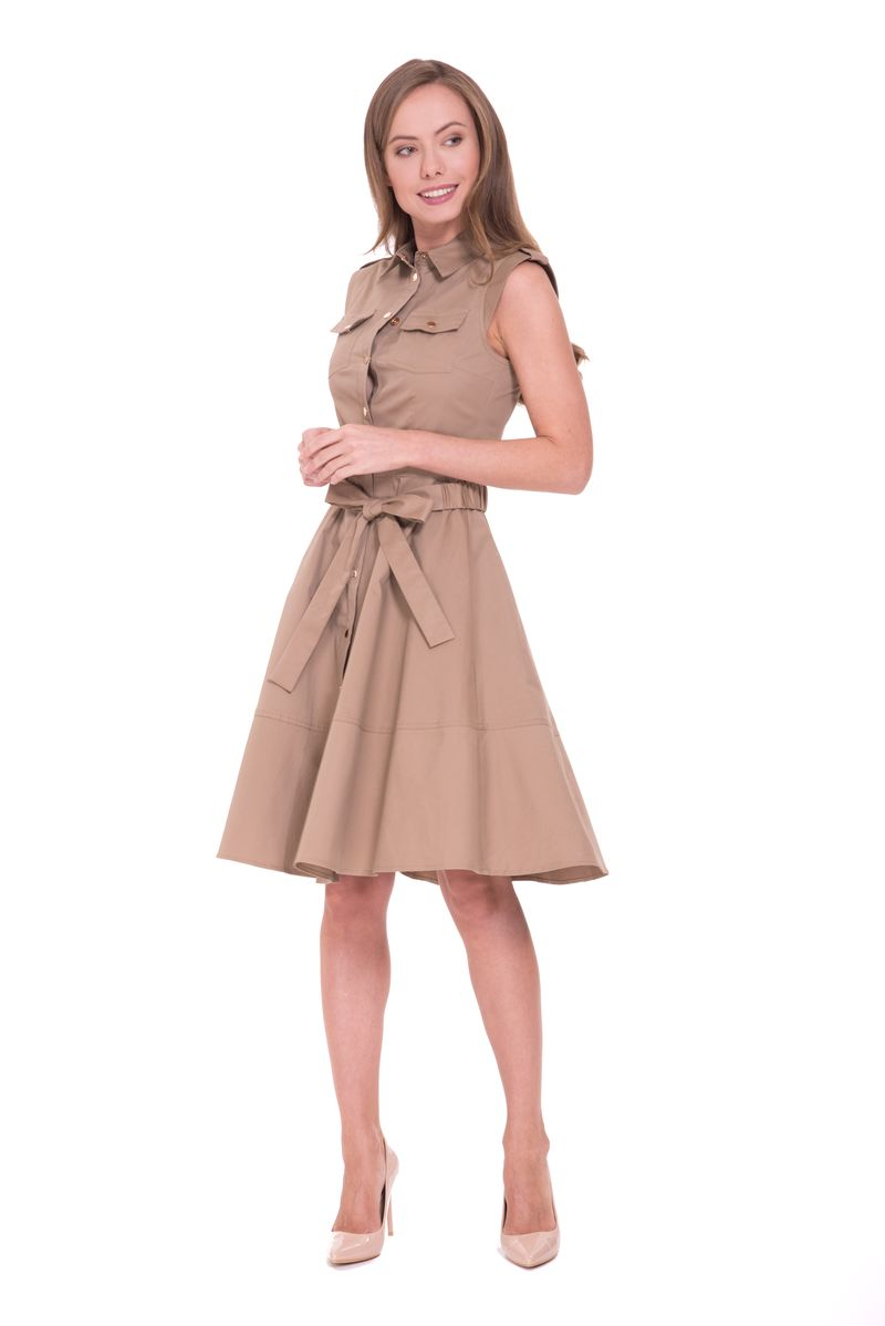Платье Lusio, цвет: светло-коричневый. SS18-020097. Размер XS (40/42)