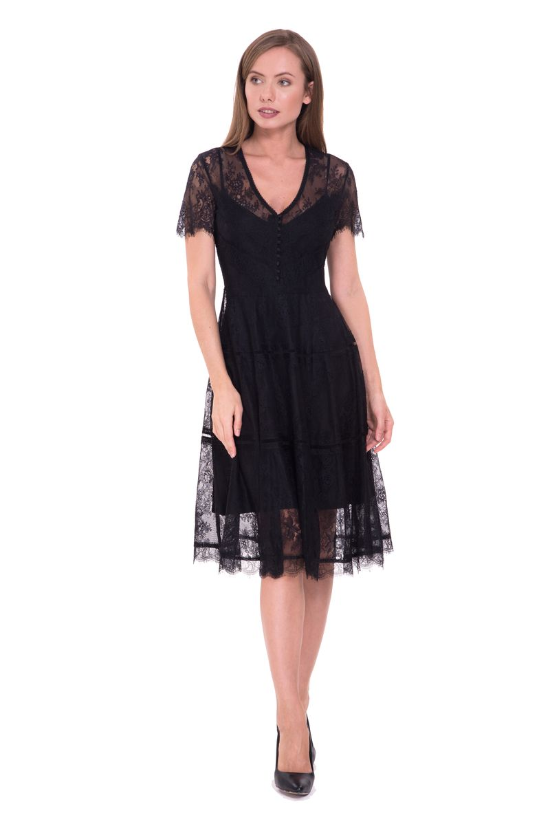 Платье Lusio, цвет: черный. SS18-020050. Размер XS (40/42)