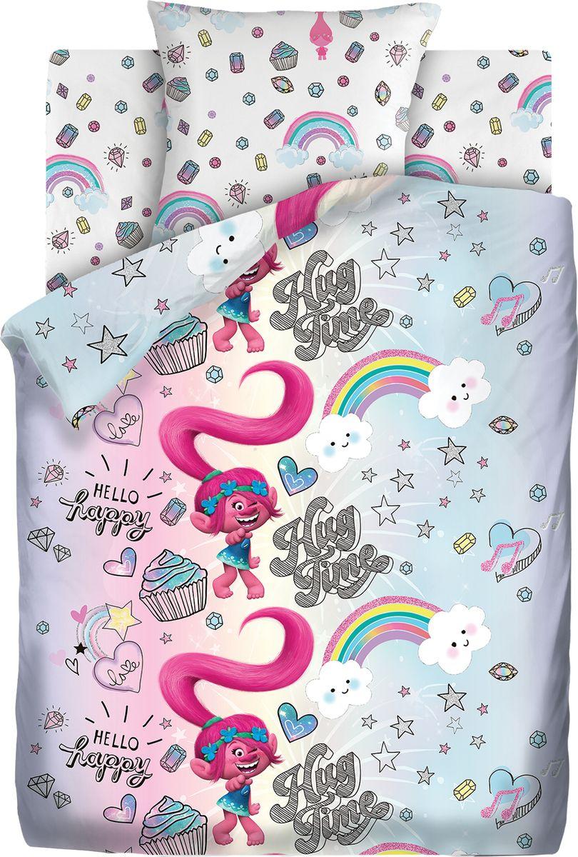 Комплект белья детский Тролли Счастливая розочка, 1,5 спальное, наволочки 70 x 70. 9025-1/9026-1 постельное белье 1 5 спальное непоседа тролли счастливая розочка 1 5 спальное 3 предмета