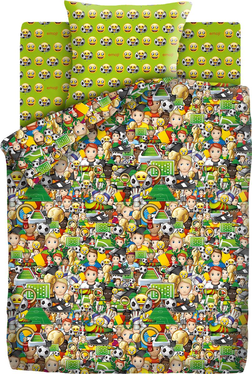 Комплект белья детский Emoji Футбол, 1,5 спальное, наволочки 70x70. 9030-1/9031-1481841Любимые смайлы emoji теперь и на постельном белье в полутороспальную кровать! Состоящий из хлопчатобумажной ткани — бязи, комплект постельного белья неприхотлив: ткань выдерживает несколько сотен стирок, со временем не портясь, имеет красивые расцветки и доступную цену.