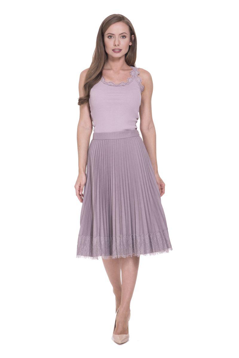 Юбка Lusio, цвет: сиреневый. SS18-030010. Размер L (46/48)SS18-030010Модная плиссированная юбка от Lusio выполнена из высококачественного материала. Модель на эластичном поясе. Юбка застегивается сбоку на потайную молнию.