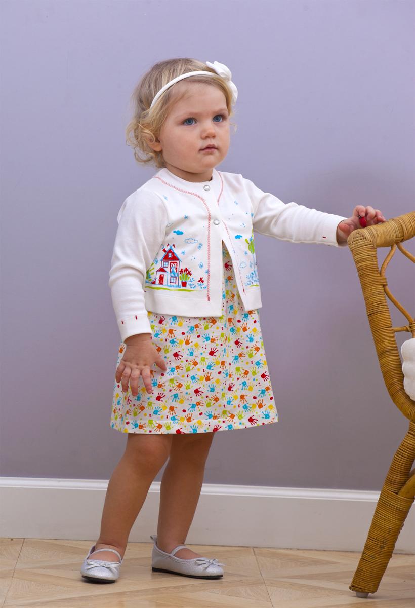 Комплект одежды для девочки Мамуляндия: платье, жакет, цвет: разноцветный. 18-2012-. Размер 86