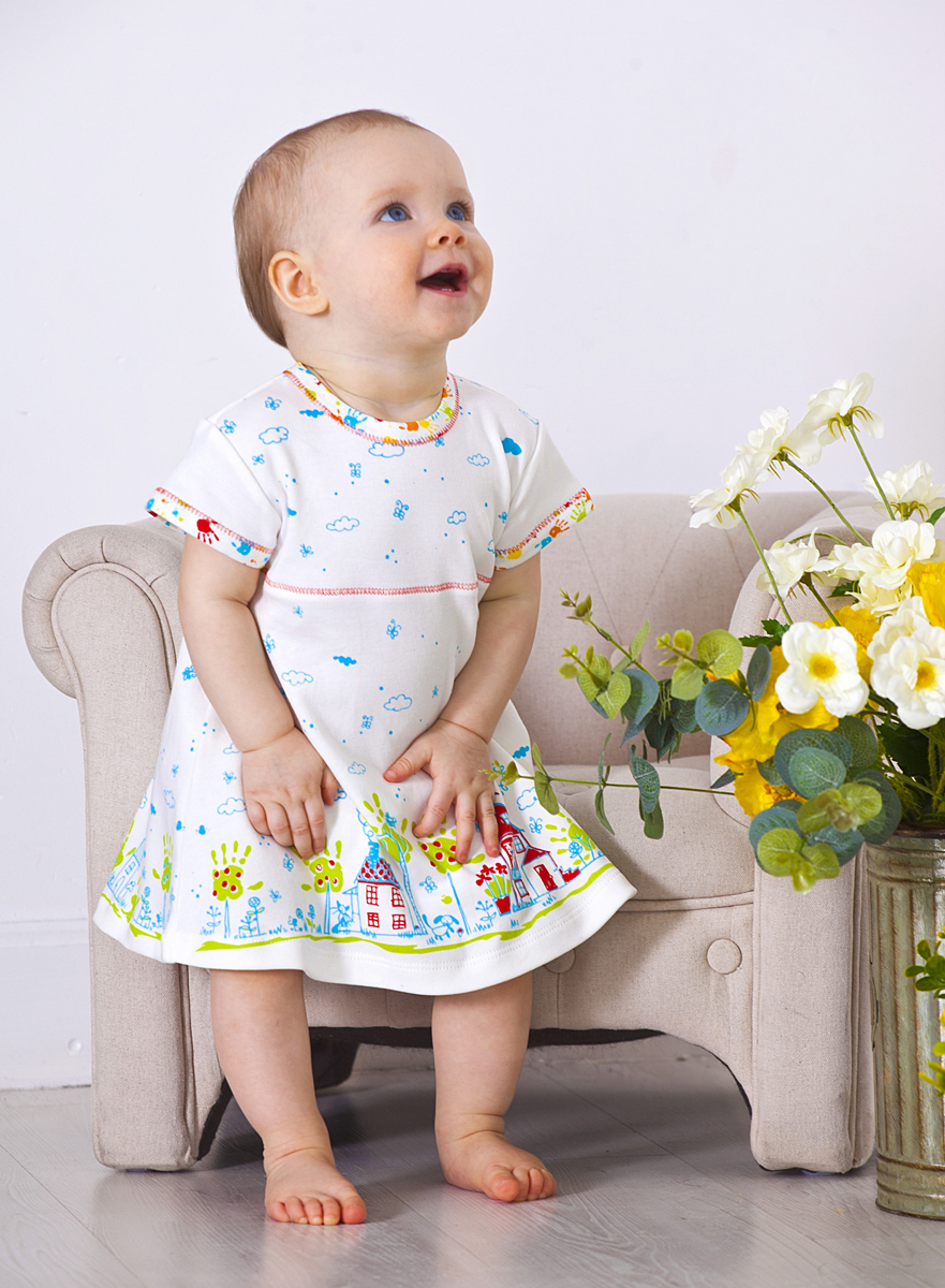 Комплект одежды для девочки Мамуляндия: платье, шорты, цвет: разноцветный. 18-2011-2. Размер 80