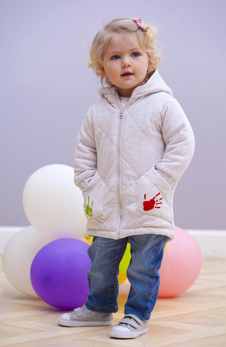 Куртка для девочки Мамуляндия, цвет: бежевый меланж. 18-208. Размер 8618-208Куртка для девочки Мамуляндия выполнена из высококачественного материала. Модель с капюшоном застегивается на застежку-молнию. Куртка дополнена карманами.